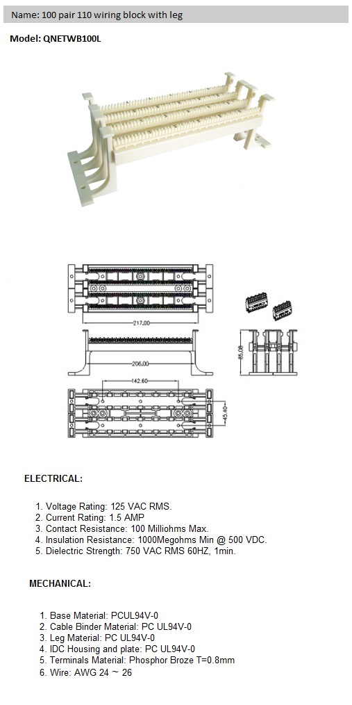 Excellent 100 Pair 110 Wiring Block With Leg Wiring 101 Tzicihahutechinfo